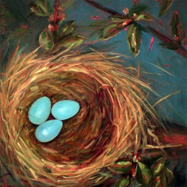 Abstract Nature Painting By Holly Van Hart, Nest Eggs, Blue