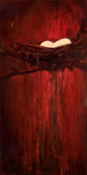 Abstract Nature Painting by Holly Van Hart, nest eggs, red, moon