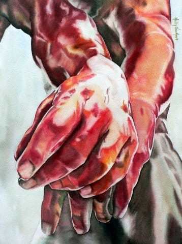"""Two Left Hands"", 15"" X 11"" (sold)"