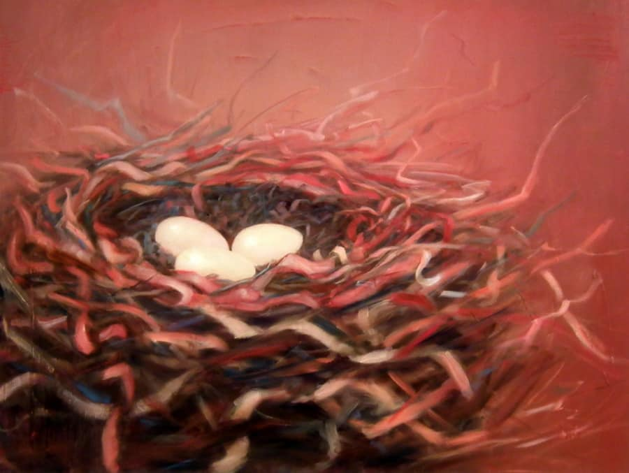 Modern Abstract Nest Painting By Holly Van Hart | Abstract Nature Paintings | Oil Painting On Canvas | Winner Of The Grand Prize Of The Caliifornia Statewide Painting Competition