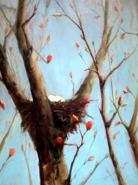Abstract Nature Painting by Holly Van Hart, nest eggs, blue, red, flowers