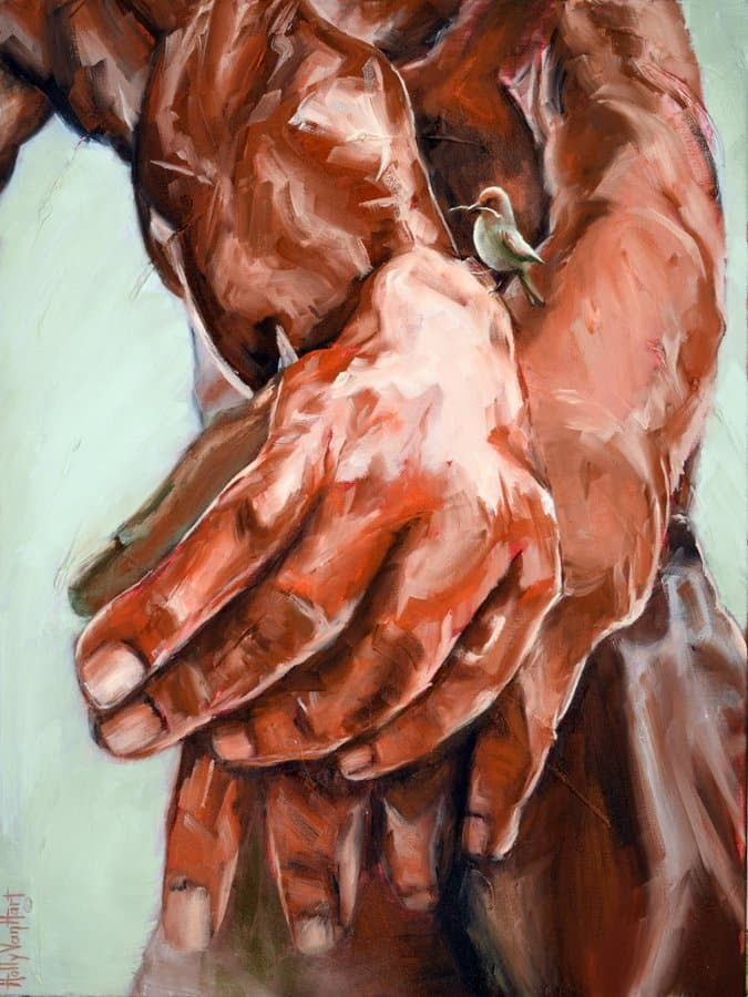 Rodin Hands Bird | 'Building The Future' Oil Painting By Holly Van Hart