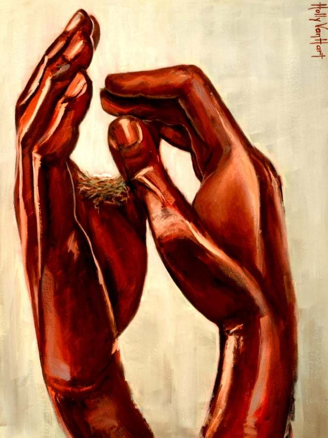 Rodin Hands Nest Eggs | 'Safe', Original Oil Painting By Holly Van Hart