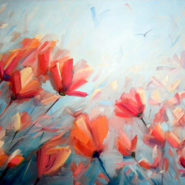Abstract Flower Painting By Holly Van Hart | Blue, Red, Orange | Inspired By Poppies
