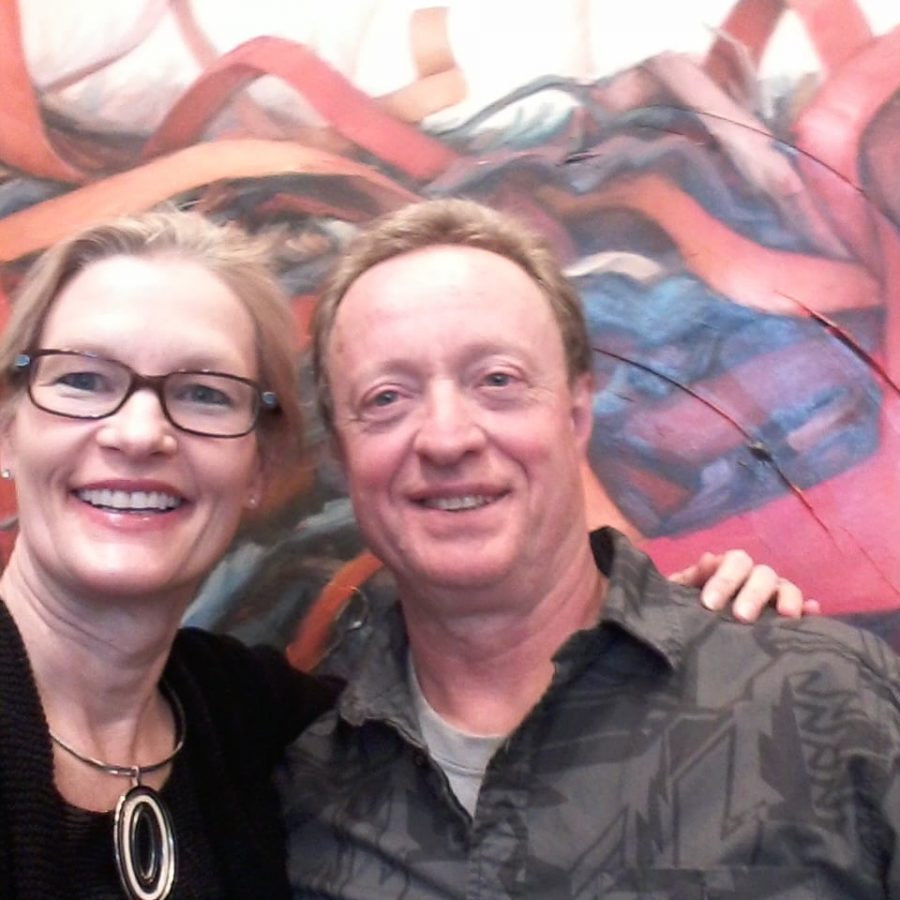 Holly Van Hart - With my friend, artist Lou Bermingnam, at JCO's Place opening reception, Standing in front of my painting 'Larger than Life'