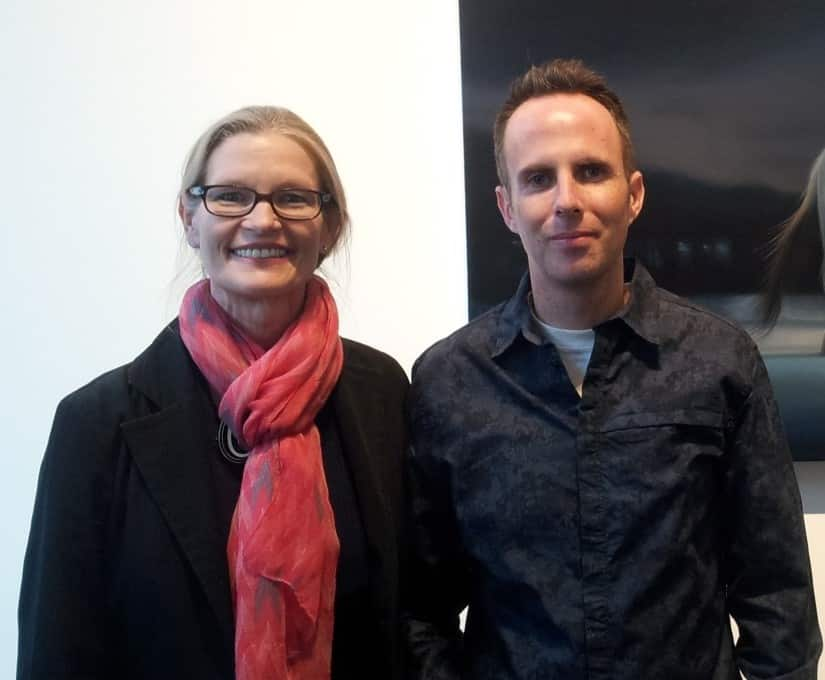 Holly Van Hart with artist Seamus Conley, at his opening at Andrea Schwartz Gallery, May 2015