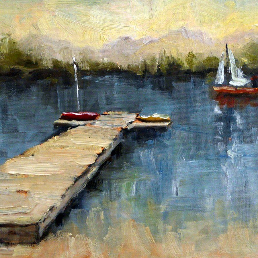 """""""Red Sailboat"""" Notecard by Holly Van Hart"""