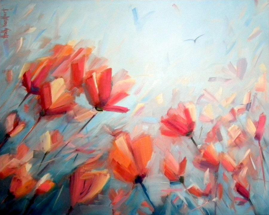 Abstract Nature Painting By Silicon Valley Artist Holly Van Hart, Featuring A Field Of Red Poppy Flowers Against A Blue Sky