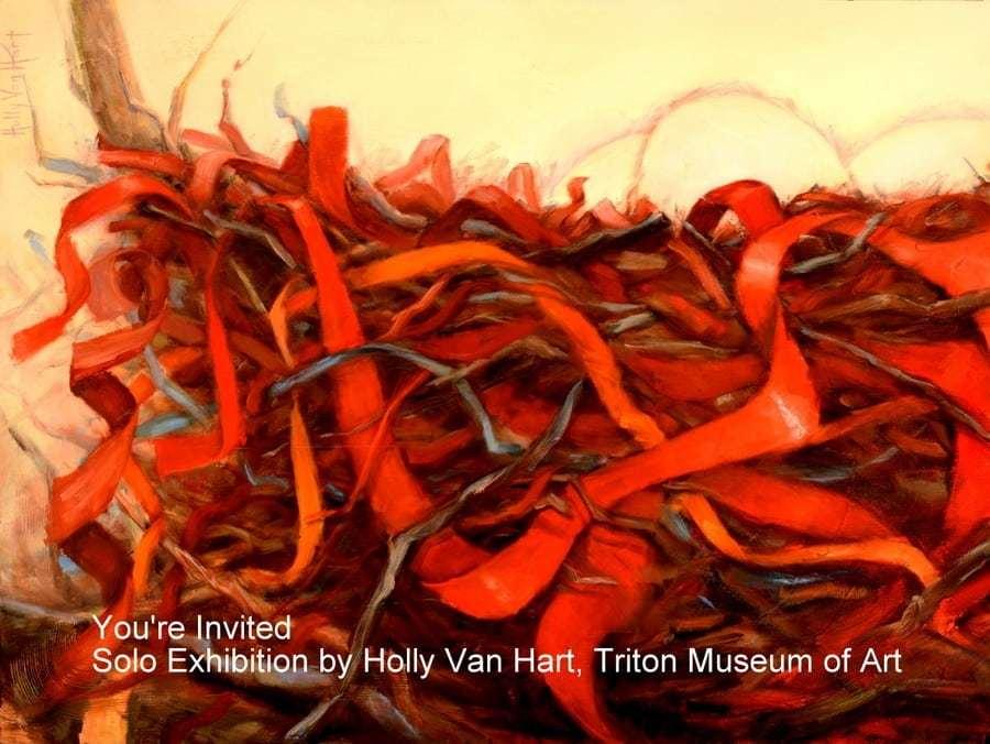 Postcard invitation to Triton Museum of Art, Holly Van Hart solo exhibition