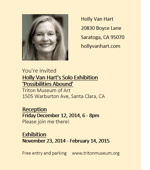 Back of postcard invitation to Triton Museum of Art, Holly Van Hart solo exhibition