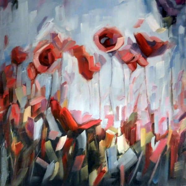 Abstract Flowers Field | Red Blue Yellow Green | Oil Painting By Holly Van Hart, Poppies