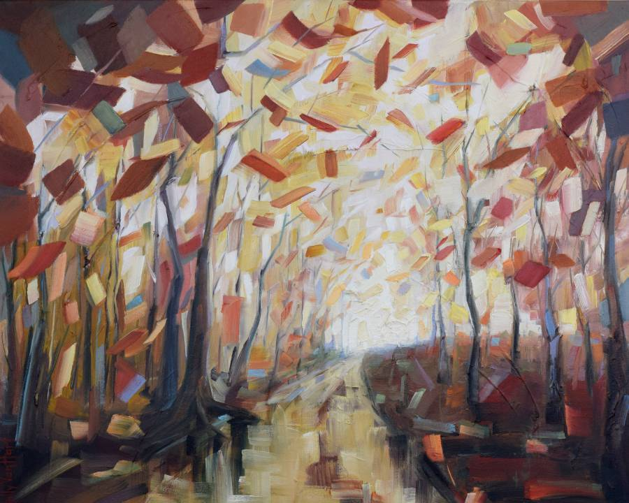 Abstract forest landscape painting by Holly Van Hart. Brown trees. autumn leaf colors red yellow orange.