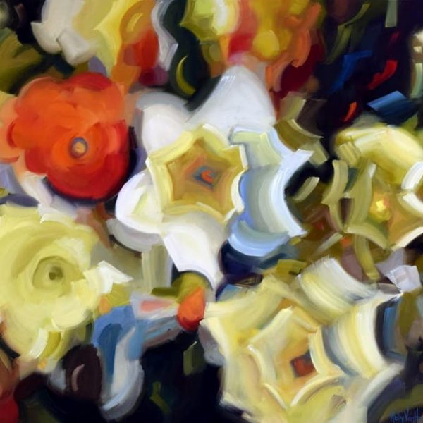 Floral Painting Inspired By Daffodils In My Husband's Garden In Saratoga, California. By Holly Van Hart.