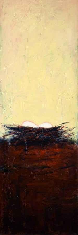 Abstract nature painting by Silicon Valley artist Holly Van Hart, featuring a birds nest with a background of deep reds and yellows