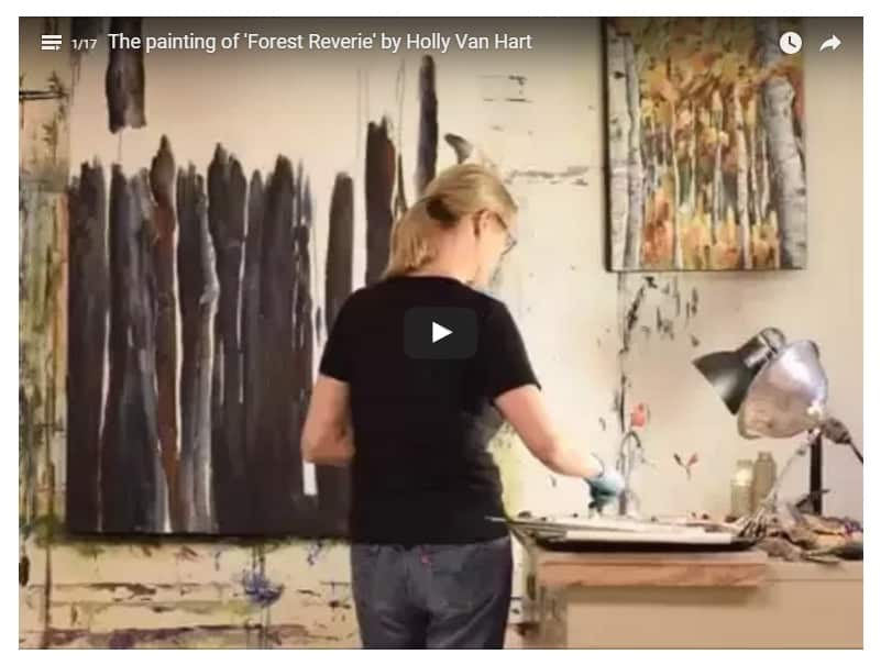 Nature Painting Demo By Silicon Valley Artist Holly Van Hart, Of A Forest With Birch Trees