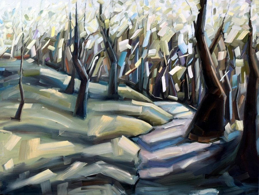 Oil painting. Trees in a sunlit forest. Blocky brushstrokes. Green, yellow, brown and teal. By Holly Van Hart.