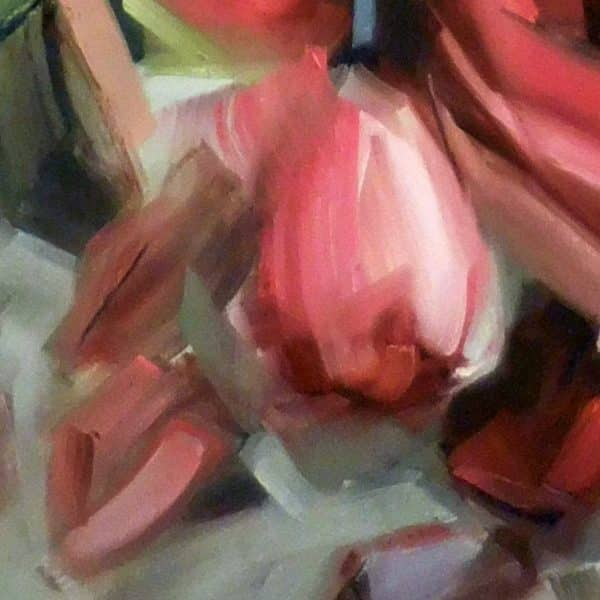 Abstact rose painting | Holly Van Hart | abstract red roses with green and multi-color leaves, oil painting, title 'Amid the Scent of Roses'
