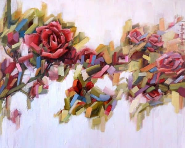 Abstact rose painting | Holly Van Hart | abstract red roses with green and multi-color leaves, oil painting, title 'Rose Jamboree'