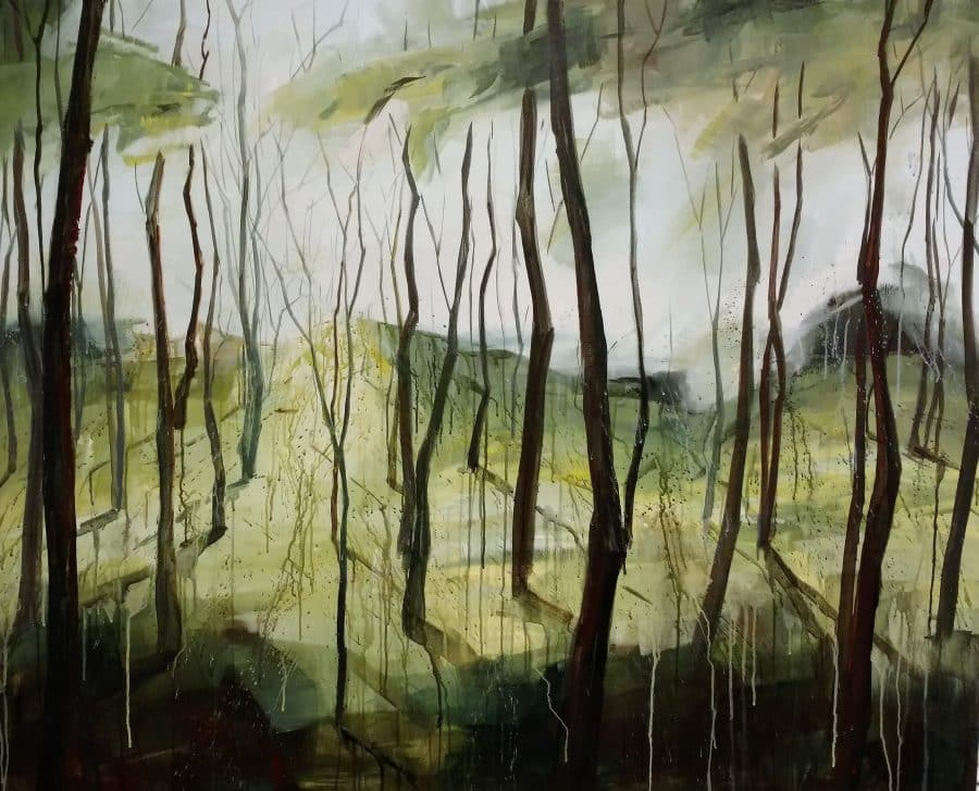 mixed media forest painting by Holly Van Hart | watercolor techniques