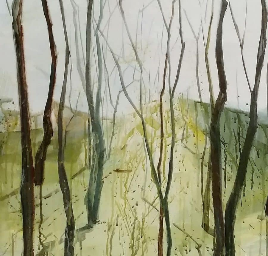 Mountain, tree trunks, watercolor and drip painting techniques | by Holly Van Hart