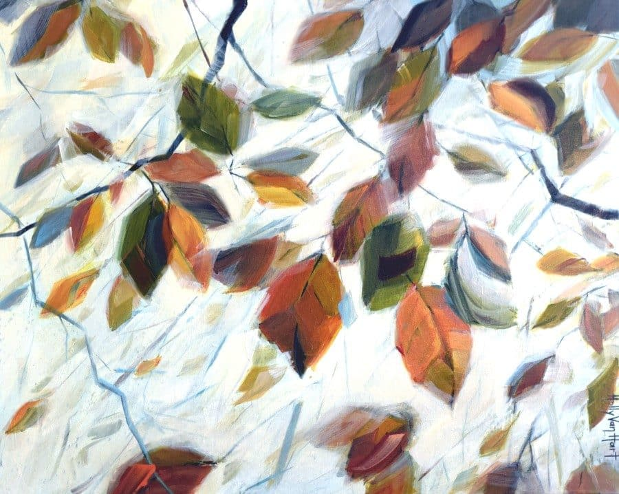 Abstract landscape forest leaves painting by Holly Van Hart | Leaves Branches Sky Sunlight | Yellow Blue Green Brown Orange Red| Breath of Autumn|