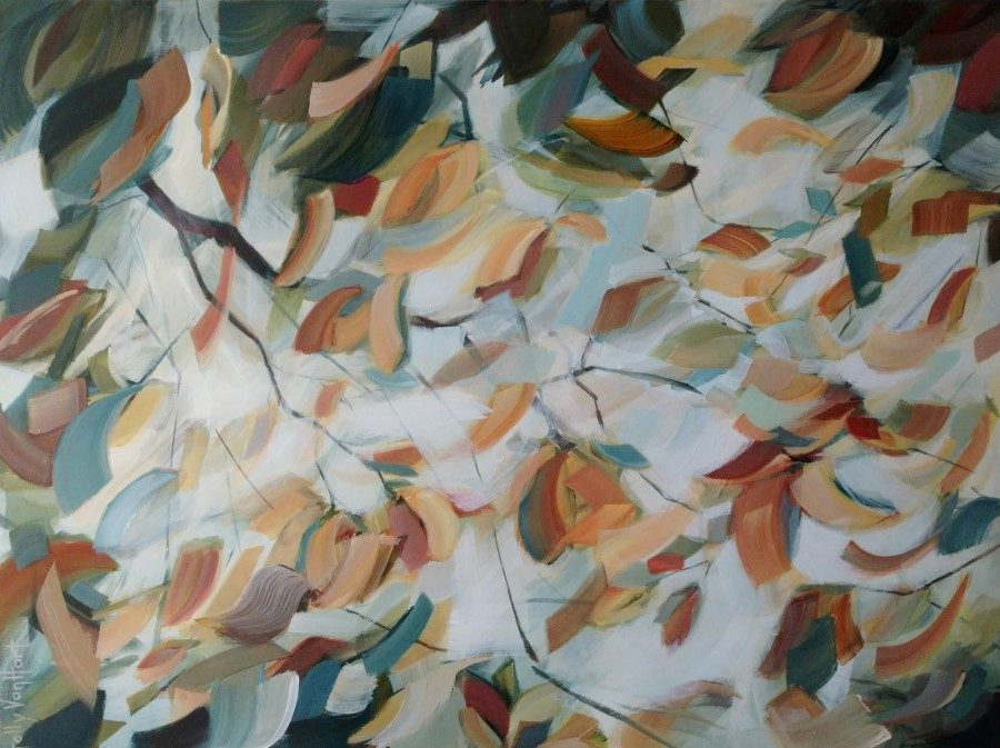 Abstract landscape flower forest painting by Holly Van Hart | Flowers Branches Sky Sunlight | Yellow Blue Green Brown Orange Red| Winner of Best of Houzz | Branching Boundlessly
