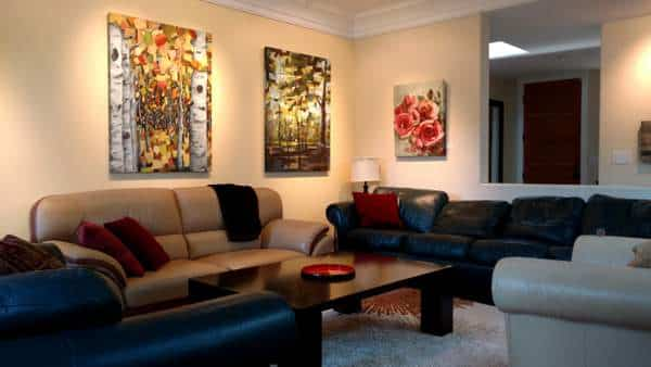 Abstract-Nature-Paintings | Birch Aspen Trees Roses | Autumn Dance | Summer Sparkle | Amid The Scent Of Roses-by-HollyVanHart | Installed Paintings | Living Room | Oil And Acrylic Paintings