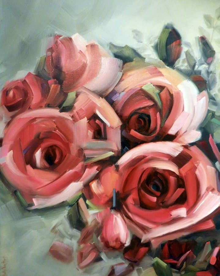 Abstract Rose Painting Featuring Red Roses With Green And Multi-color Leaves, Oil Painting, Title 'Amid The Scent Of Roses' By Holly Van Hart
