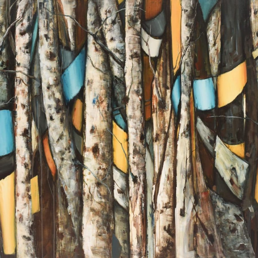 Aspen birch tree painting with yellow and blue ribbons. Textured bark. By Holly Van Hart.