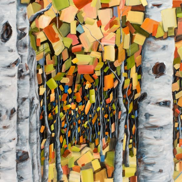 Birch aspen tree painting in autumn colors by Holly Van Hart. Green, blue, yellow, offset by gray trunks