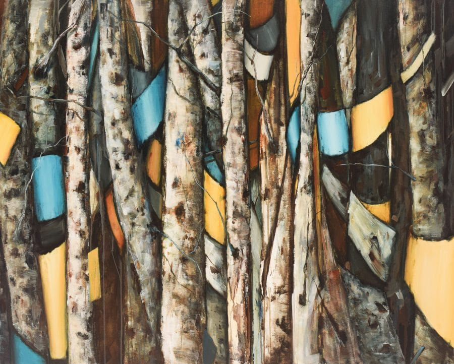 abstract aspen birch painting by American artist Holly Van Hart. Wall art. Acrylic mixed media painting. gray blue yellow brown