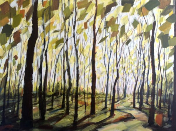 Tree artwork. Bright sky with shimmering yellow-green leaves. Inviting path into the woods. Acrylic painting by Holly Van Hart.