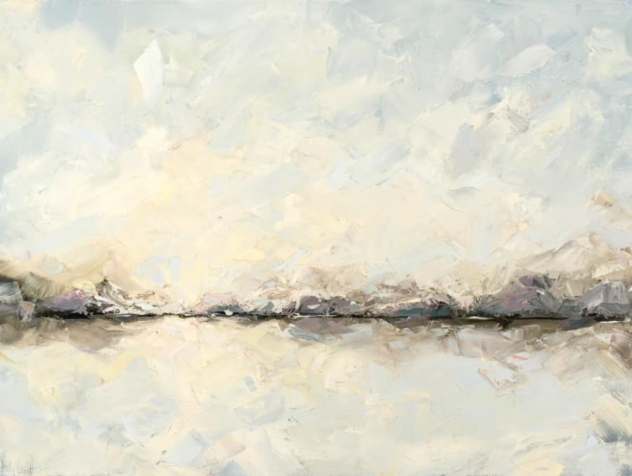 Abstract Landscape Painting With Mountains, Sea And Sky - Sky Song - Oil Painting By Holly Van Hart | Blue Yellow Gray Pink Purple