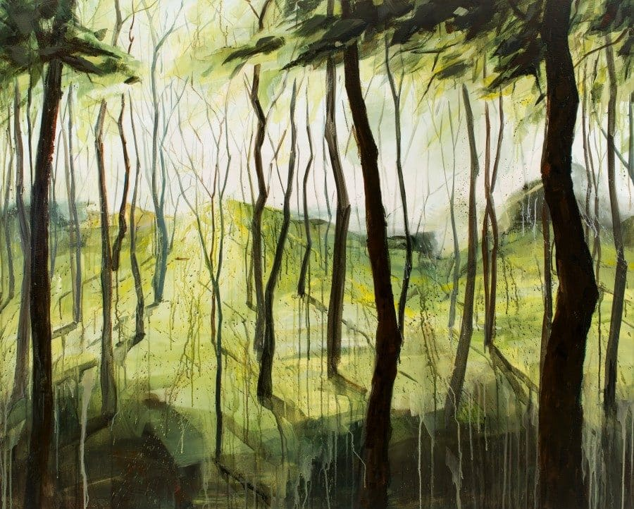 abstract landscape painting with trees. Springtime colors - green, yellow. Brown trees. Acrylic flow drip technique. By Holly Van Hart.