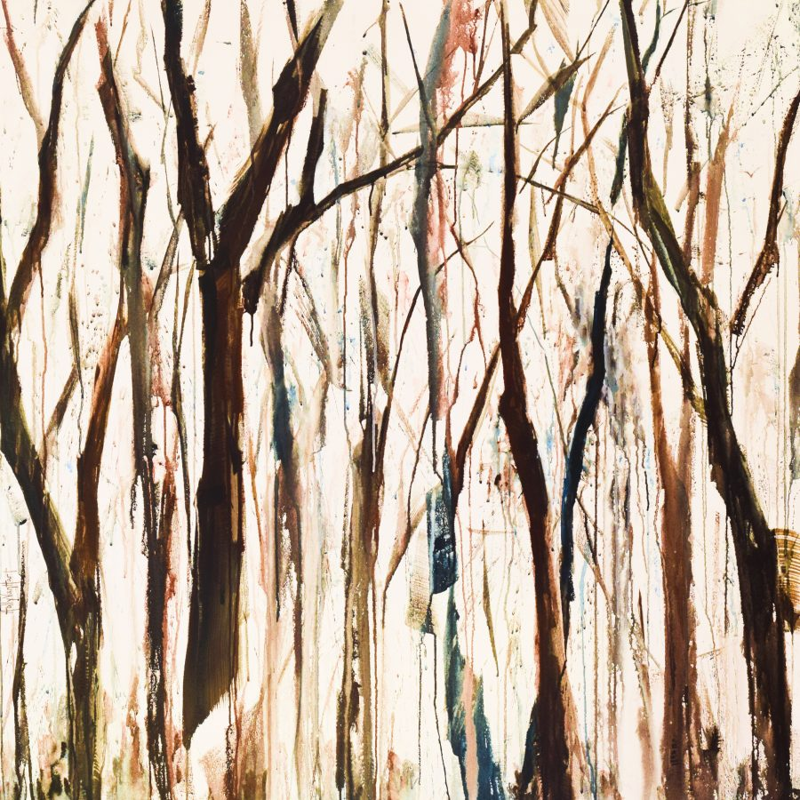 """Acrylic painting of abstract trees, blue and brown, abstractly painted with acrylic paint 