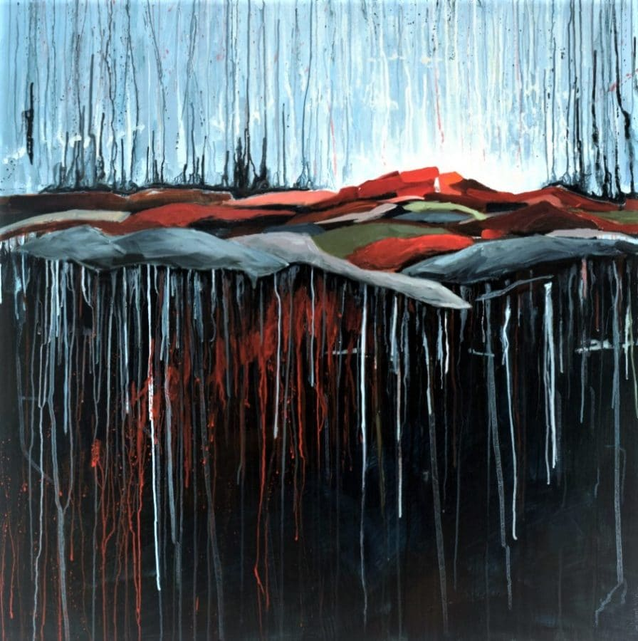 abstract landscape painting - red green blue grey mountains, blue sky - by California painter Holly Van Hart