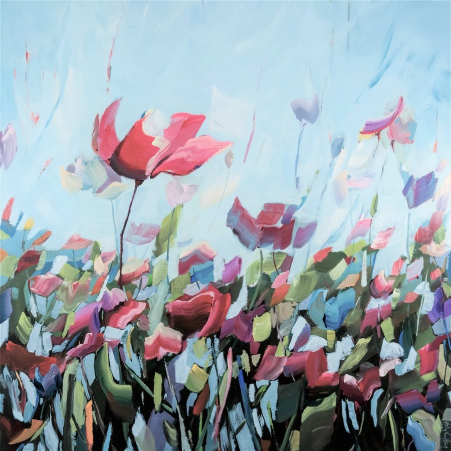 Abstract poppy flower painting | blue red orange green field of flowers | painting by Holly Van Hart | Featured in the Huffington Post, Professional Artist Magazine, and ABC News