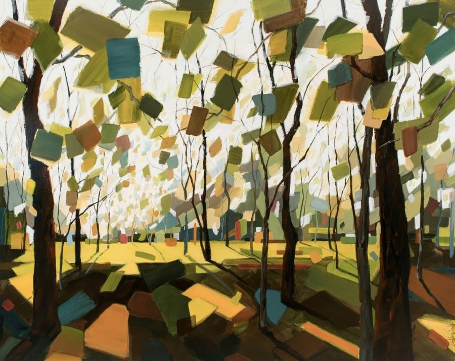 Abstract tree painting by Holly Van Hart featuring a sunlit forest, blocky confetti leaves.