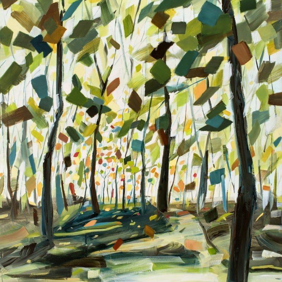 Fanciful forest painting. Happy trees, bright colors, green, blue, orange, yellow. Art by Holly Van Hart
