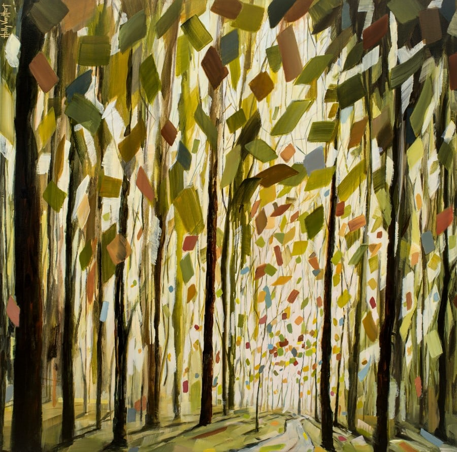 Abstract Tree Painting With Tall Trees And Fanciful Leaves - Green, Yellow, Red, Orange. By Holly Van Hart.