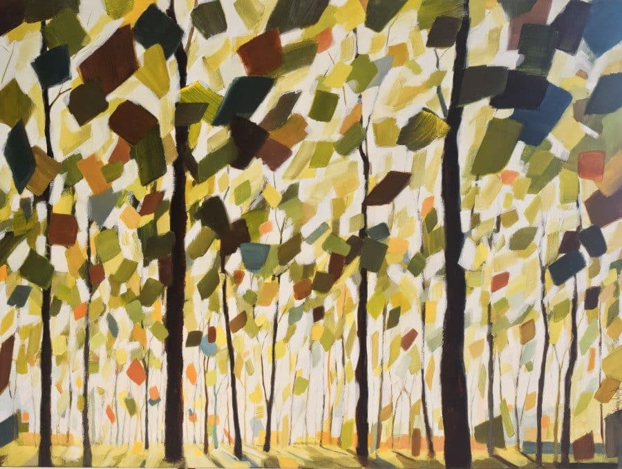 "Abstract landscape forest painting | The Sun's Warmth48 x 48"" mixed media painting by Holly Van Hart 