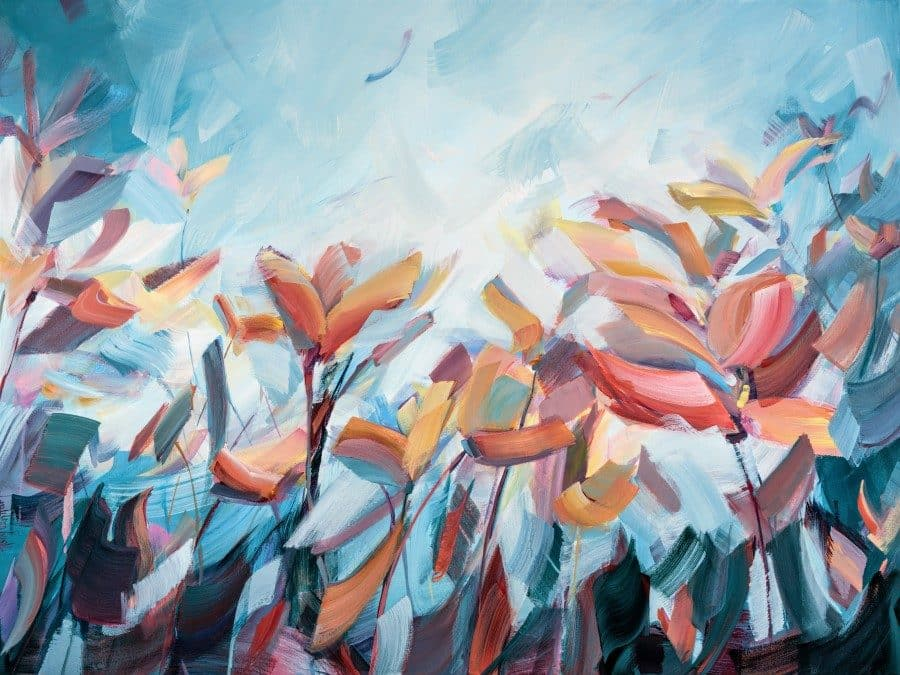 Abstract floral painting. Inspired by the gorgeous colors of California. By artist Holly Van Hart. blue red orange pink yellow