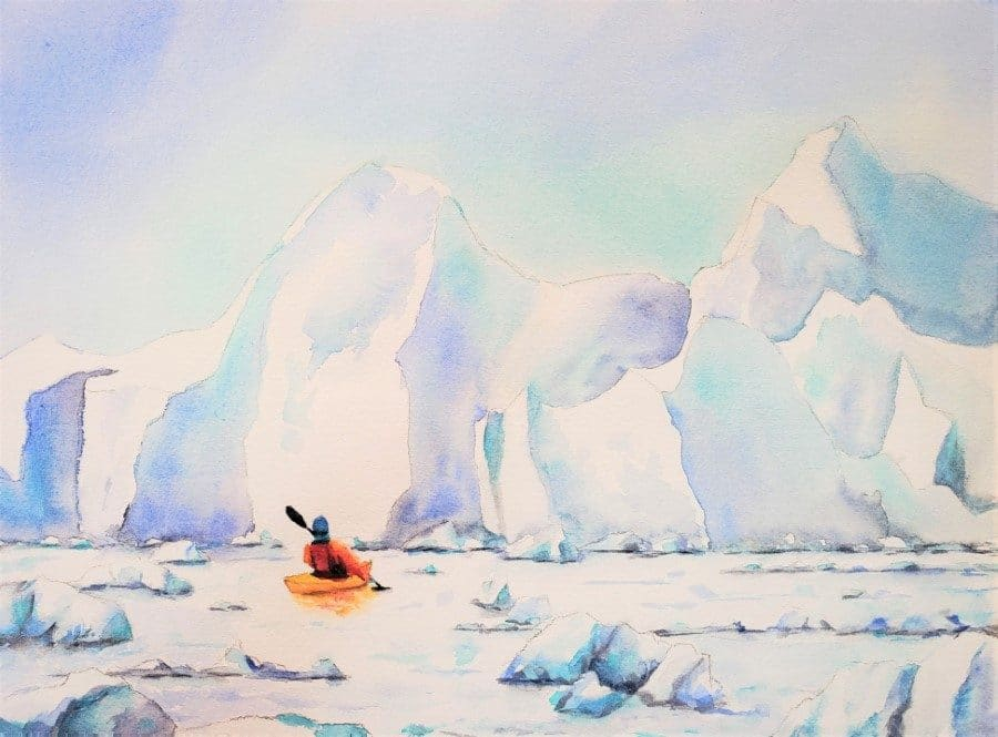 Arctic Wonderland - watercolor painting by Holly Van Hart - 9 x 12 on paper - kayak ocean glacier ocean