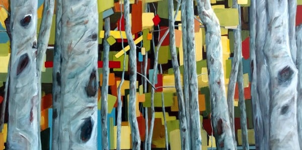Landscape Birch Aspen Painting By Holly Van Hart | The Grand Escape