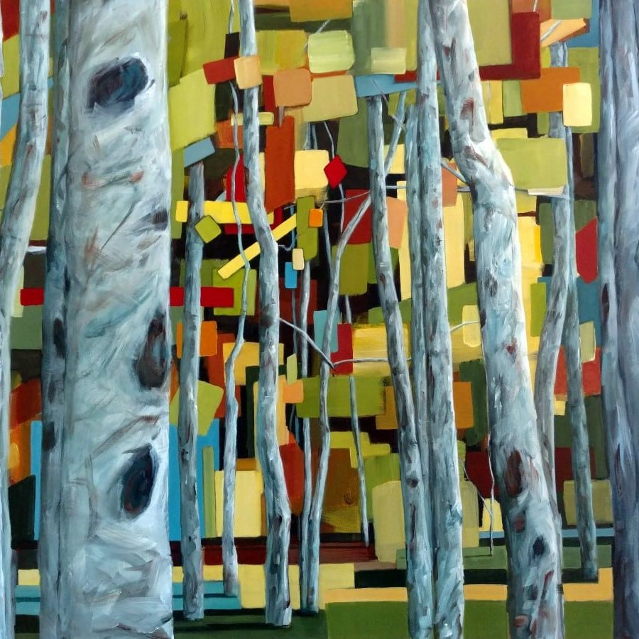Abstract landscape forest painting | The Grand Escape | mixed media painting by Holly Van Hart | aspen birch | brown blue gray white yellow | Best of Houzz | Grand Prize, California Statewide Painting Competition