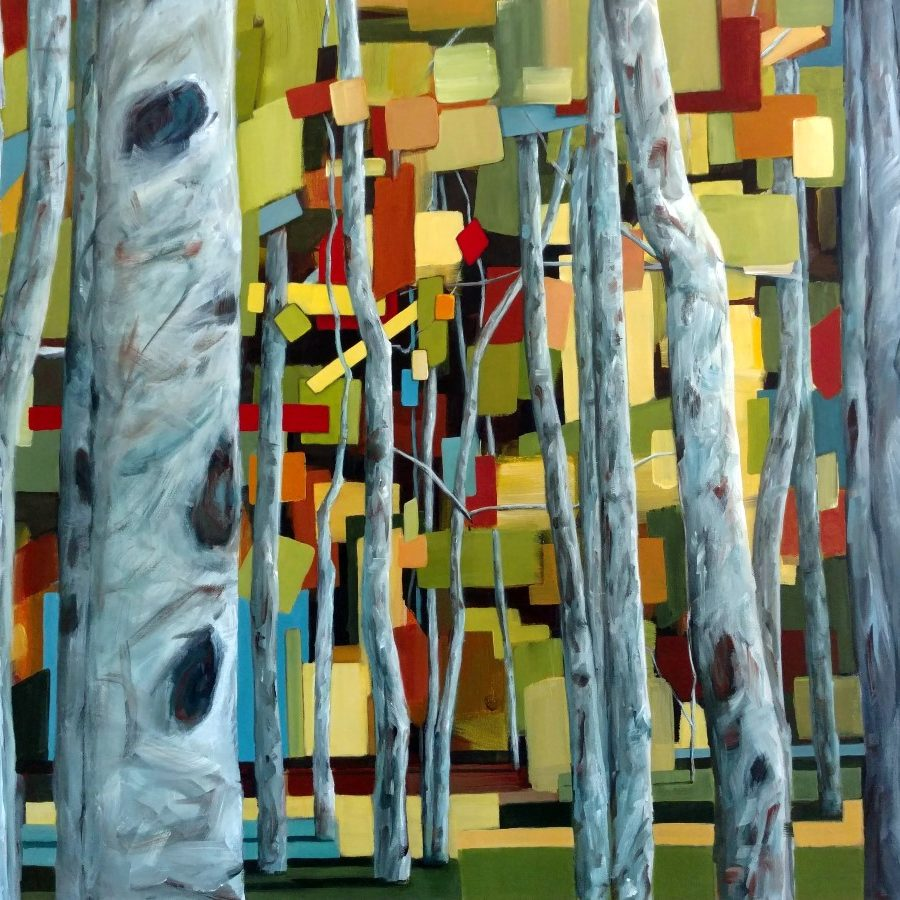 Birch Aspen Trees And Forest | Abstract Forest Painting By Holly Van Hart | Oil And Acrylic | Gray Green Yellow Blue
