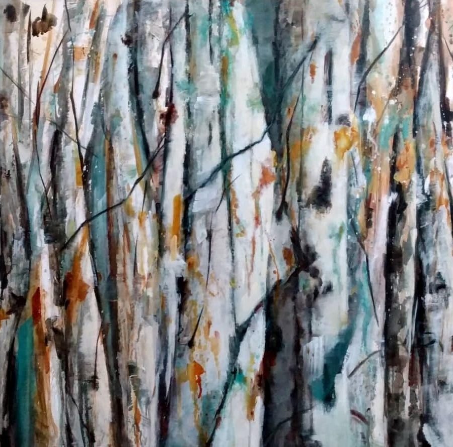 Abstract birch aspen forest artwork. Blue, white, orange, and teal. Painting by Holly Van Hart.