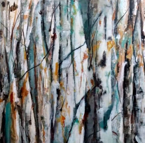 Abstract Birch Aspen Colony Artwork. Blue, White, Orange, And Teal. Painting By Holly Van Hart.