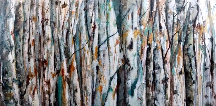 Abstracted nature forest landscape painting by Holly Van Hart | birch aspen trees | blue orange white gray brown | Best of Houzz