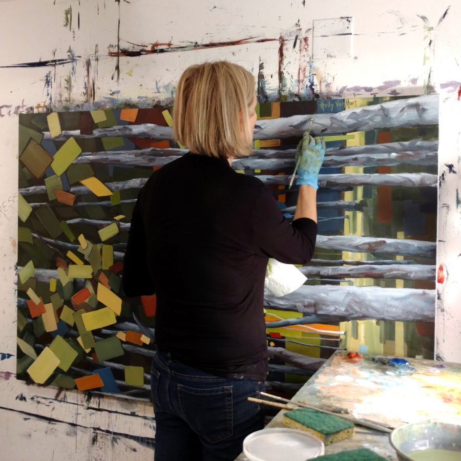 Holly Van Hart In Studio - American Artist - Abstract Landscape Paintings